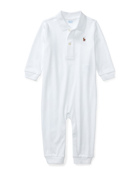 Ralph Lauren Long-Sleeve Pima Polo Coverall, White, Size 3-12 Months