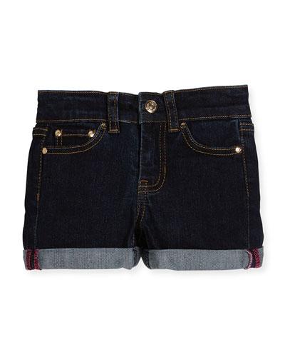 rolled stretch denim shorts, indigo, size 2-6