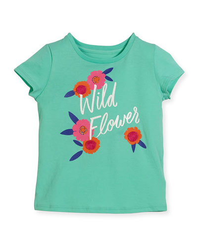 wild flower jersey tee, turquoise, size 2-6
