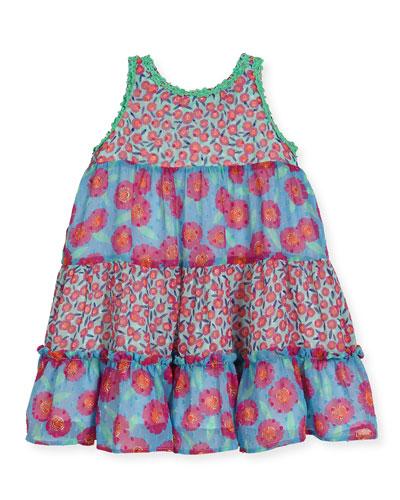 floral chiffon trapeze dress, multicolor, size 7-14