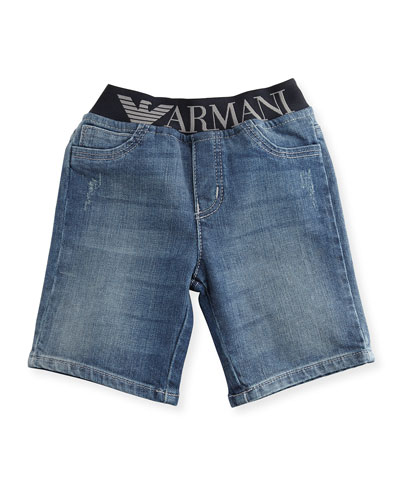Stretch Denim Logo-Waist Shorts, Blue, Size 6-36 Months