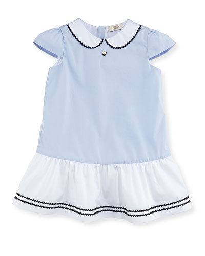 Cap-Sleeve Stretch Poplin Flounce Dress, Blue, Size 6-36 Months