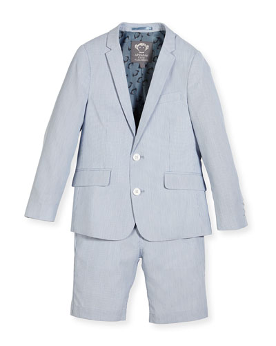 Striped Seersucker Short Suit, Light Blue, Size 2-14