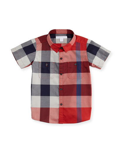 Mini Camber Short-Sleeve Check Shirt, Red, Size 6M-3T