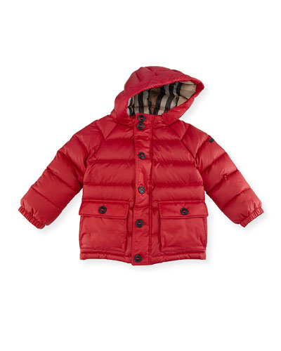 Lachlan Hooded Puffer Jacket, Red, Size 2-3