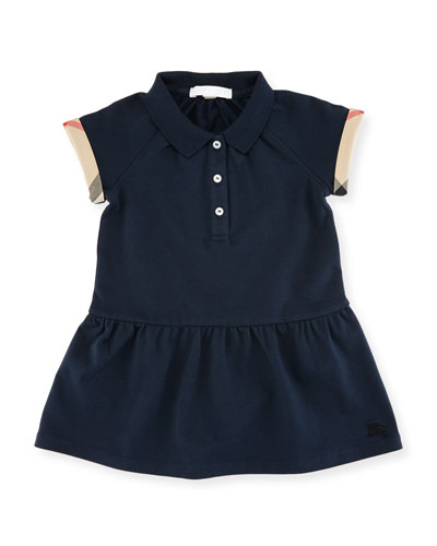 Cali Smocked Raglan Polo Dress, Size 6M-3Y