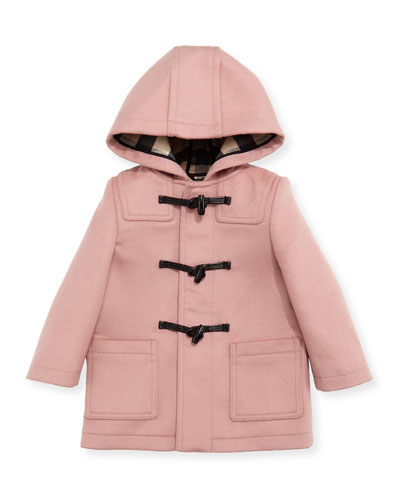 Brogan Hooded Duffle Coat, Rose, Size 12M-3T