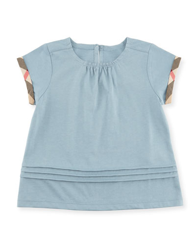 Gisselle Pintucked Melange Jersey Tee, Blue, Size 6M-3Y