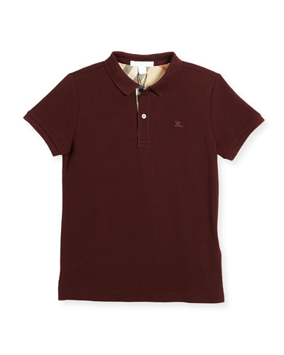 Burberry Boys' Cotton Polo, Burgundy, Size 4 - 14