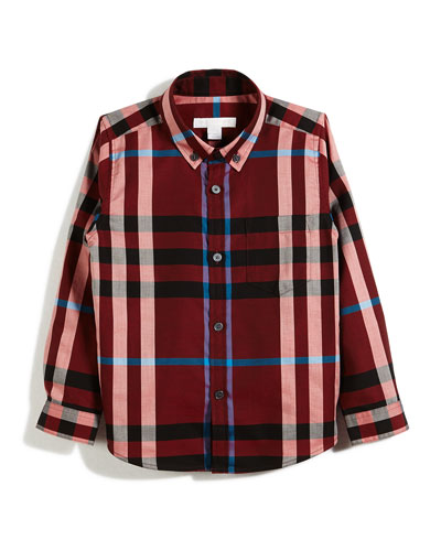 Fred Mini Long-Sleeve Check Shirt, Red, Size 4-14