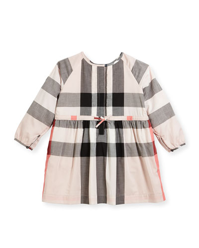 Agnes Long-Sleeve Check Dress, Size 4-14
