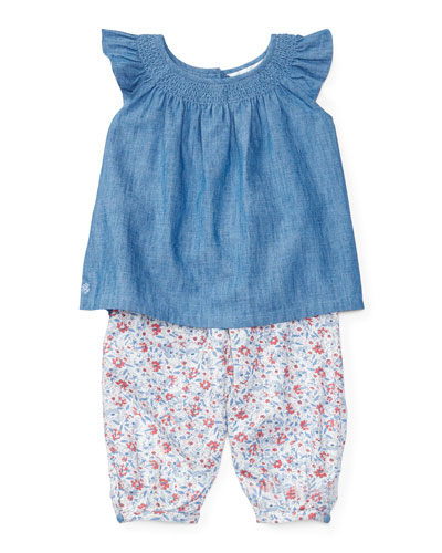 Sleeveless Smocked Chambray Top w/ Floral Leggings, Quincy Wash/Multicolor, ...