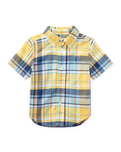 Short-Sleeve Madras Plaid Cotton Shirt, Yellow/Green/Multicolor, Size 9-24 ...