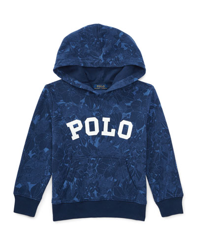 Hooded Floral Pullover Sweatshirt, Blue Tropical, Size 2-4