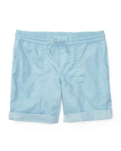Cotton Twill Parachute Shorts, Naples Blue, Size 5-7