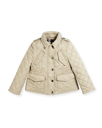 Neals Quilted Button-Front Jacket, Size 4