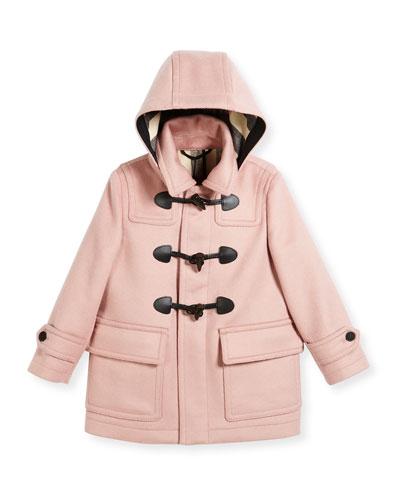 Burwood Hooded Wool Toggle Coat, Rose, Size 4-14