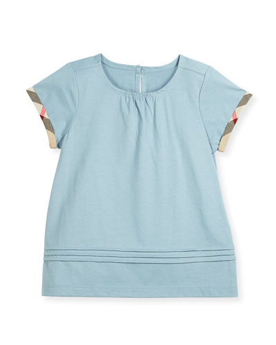 Gisselle Pintucked Jersey Tee, Blue, Size 4-14