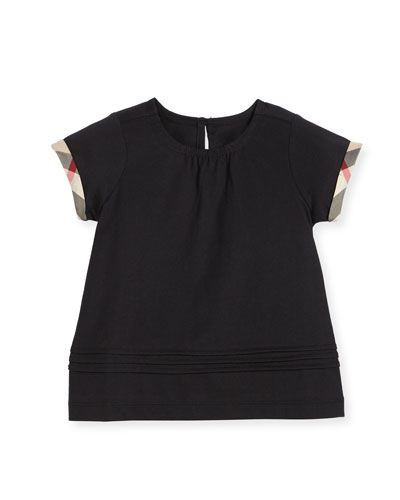 Gisselle Pintucked Melange Jersey Tee, Black, Size 4-14
