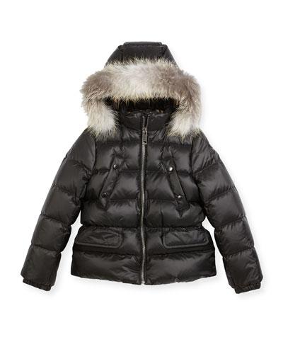 Bronwyn Quilted Puffer Coat w/ Fur Trim, Black, Size 4-14