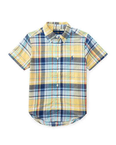 Short-Sleeve Madras Plaid Cotton Shirt, Yellow/Green/Multicolor, Size 5-7