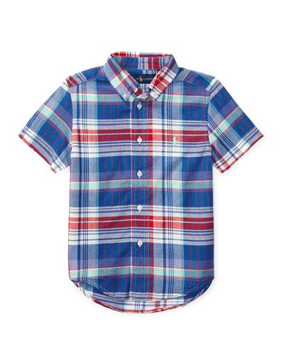 Short-Sleeve Madras Plaid Cotton Shirt, White/Blue/Multicolor, Size 5-7