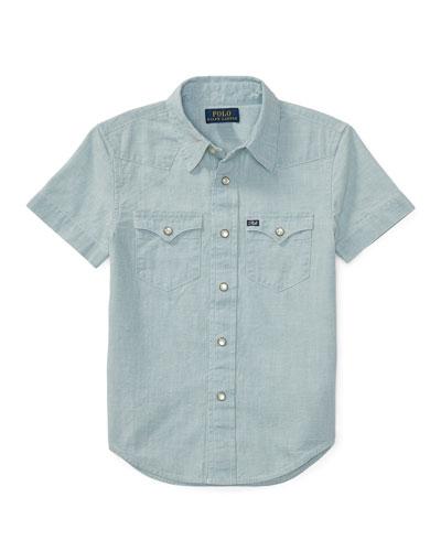 Short-Sleeve Chambray Western Shirt, Light Blue, Size 5-7