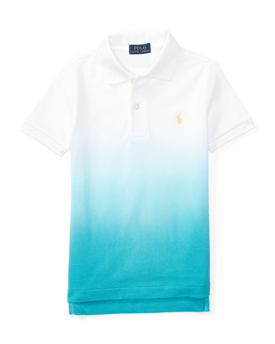Basic Mesh Dip-Dye Polo Shirt, True Aqua/White, Size 5-7