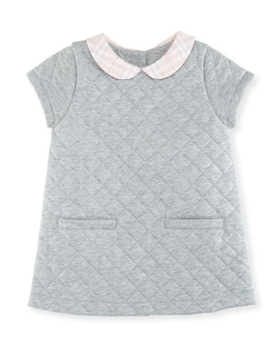 Taryn Collared Quilted Shift Dress, Size 12 Months