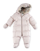 Skylar Quilted Down Snowsuit, Pink, Size 6-24 Months