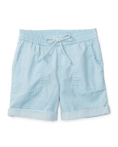 Cotton Twill Parachute Shorts, Naples Blue, Size 9-24 Months