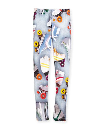 Niki Mixed Floral-Print Stretch Jersey Leggings, Size 3-14