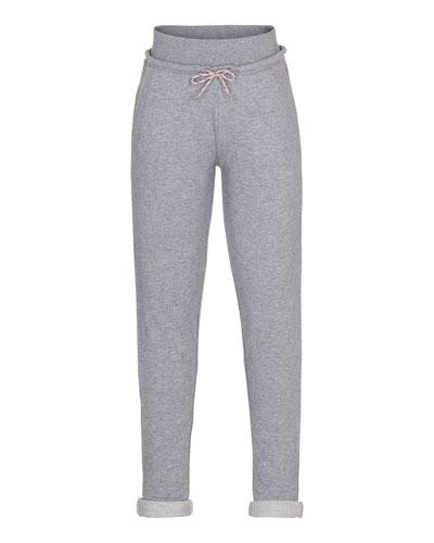 Agnete Cotton Terry Sweatpants, Gray Melange, Size 3-12