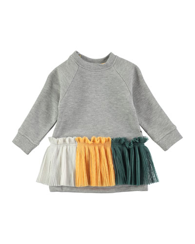 Cher Long-Sleeve Skirted Sweat Dress, Gray, Size 12-24 Months