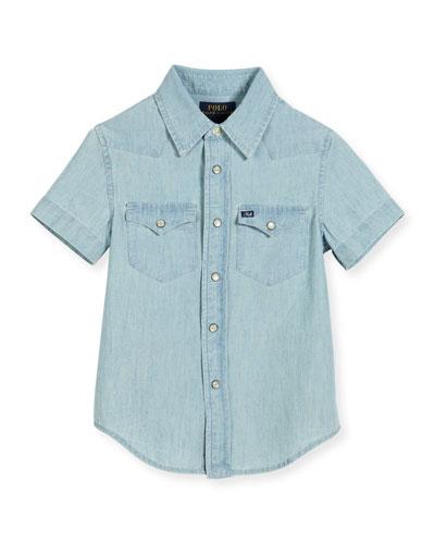 Short-Sleeve Chambray Western Shirt, Light Blue, Size 2-4