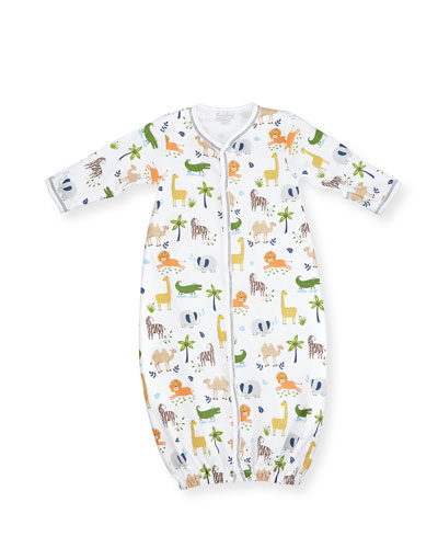 Jungle Jaunt Convertible Pima Sleep Gown, Navy/White, Size Newborn-Small