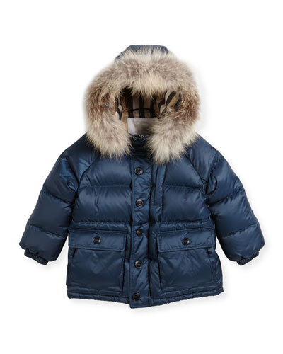 Lachlan Fur-Trim Hooded Puffer Jacket, Size 4