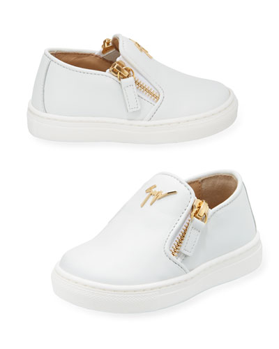 Girls' London Laceless Leather Low-Top Sneaker, Youth