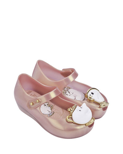 Ultragirl Beauty and the Beast® Mary Jane Flat, Pink Metallic, Toddler ...