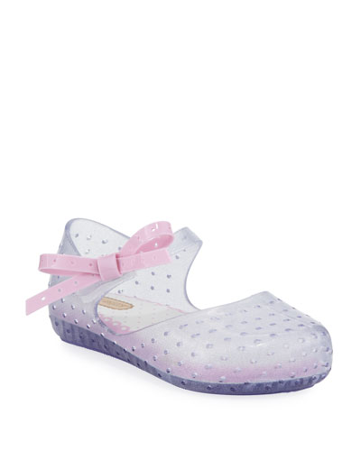 Mini Melissa Perforated Mary Jane Flat W /  Bow, Pink, Toddler