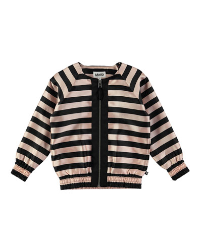 Hana Striped Satin Jacket, Black, Size 4-14