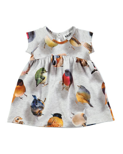 Cille Bouncing Birds Jersey Dress, Gray, Size 12-24 Months