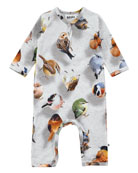Fiona Bouncing Birds Jersey Coverall, Gray, Size 3-12 Months