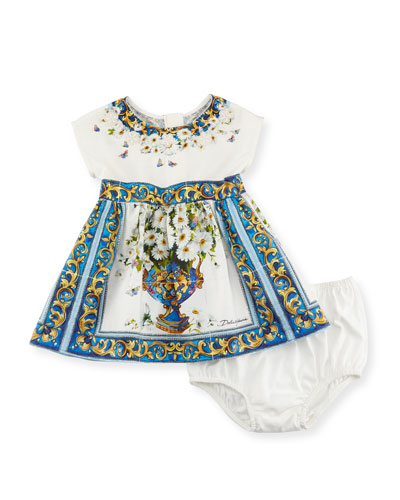 Majolica Tile and Floral Print Dress w/ Bloomers, White Pattern, Size 12-36 ...