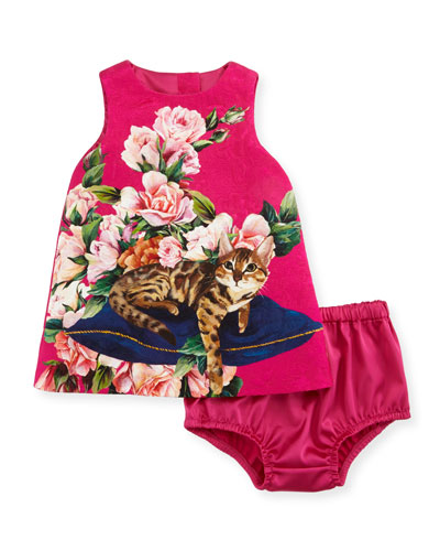 Flower Cat Dress, Pink, 12-36 Months