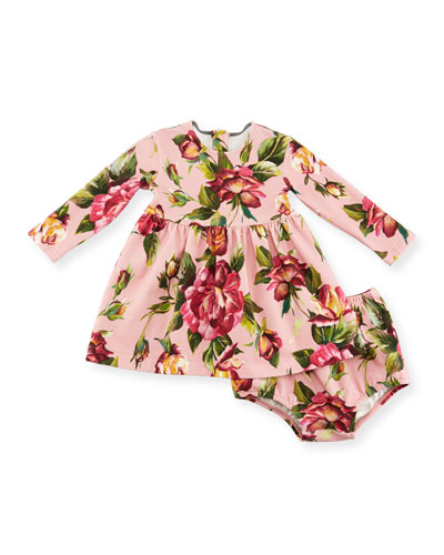 Long-Sleeve Rose-Print Dress w/ Bloomers, Pink, Size 12-36 Months