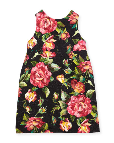 Floral Rose Brocade Dress, Black Pattern, Size 8-12