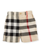 Sean Cotton Check Shorts, Sand, Size 6M-3Y