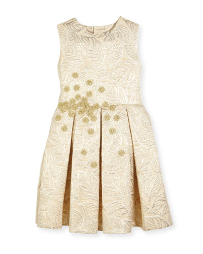 Jacquard Pleated Bow Party Dress, Gold, Size 2-14