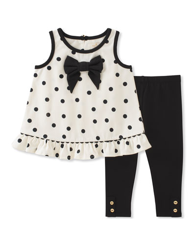 polka dot bow tank top w/ leggings, size 12-24 months